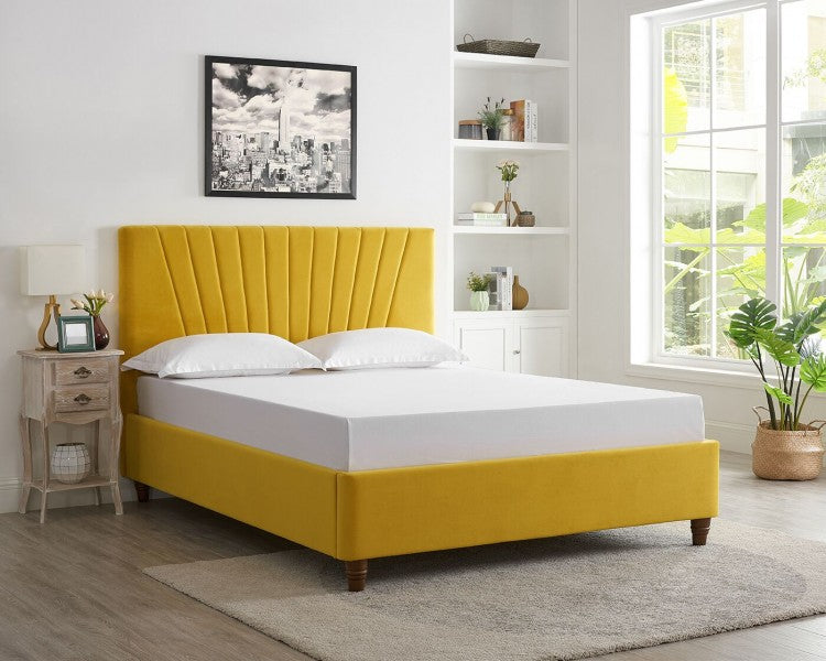 LPD Lexie 4ft6 Double Mustard Fabric Bed Frame - Furniture For You Ltd