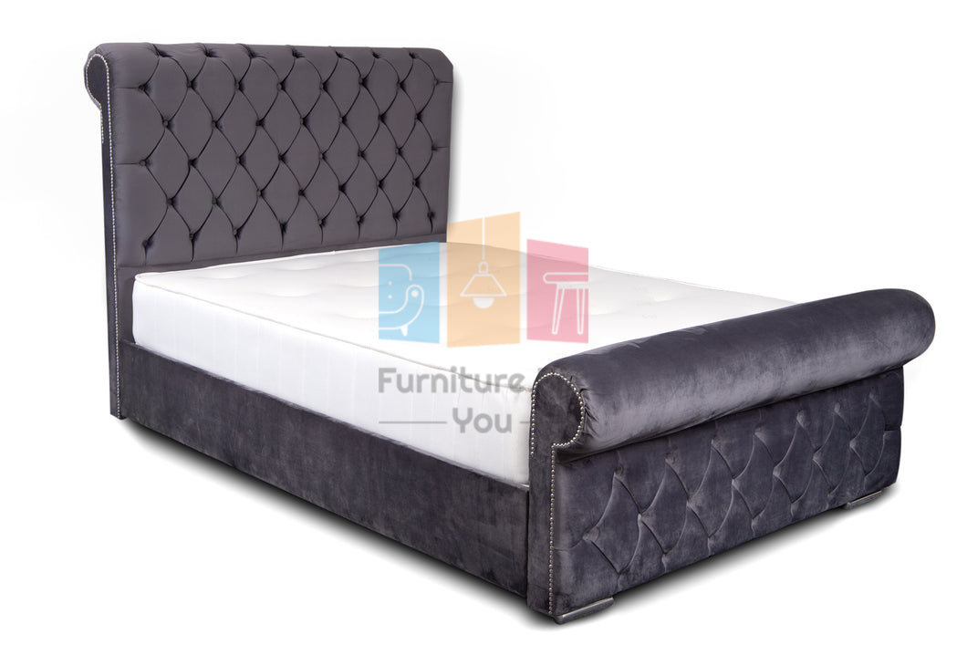 Rome Sleigh Bed Frame with Upholstered Footboard