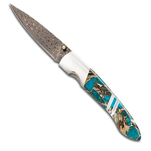 Santa Fe Stoneworks Gemstone Exotics 4-inch Damascus Steel Pocket Knife with Clip, Turquoise/Abalone/Bronze