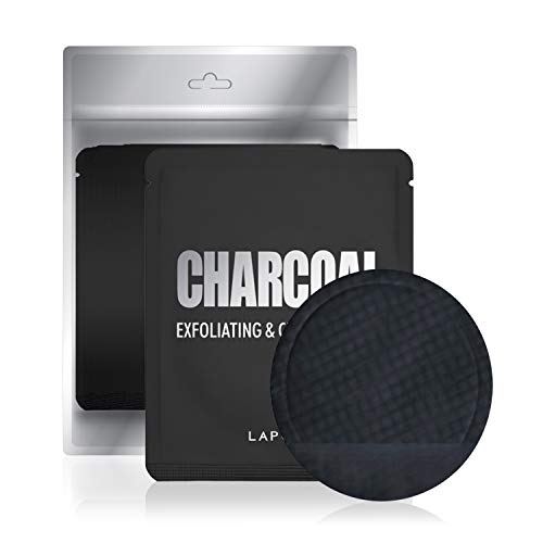 LAPCOS Exfoliating and Cleansing Pad, Clear Complexion Treatment for Acne Prone or Aging Skin, Korean Beauty Favorite, Individually Packaged (5 Pack, Charcoal)