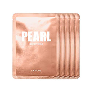 LAPCOS Pearl Sheet Mask, Daily Face Mask with Probiotics to Brighten and Clarify Skin, Korean Beauty Favorite, 5-Pack