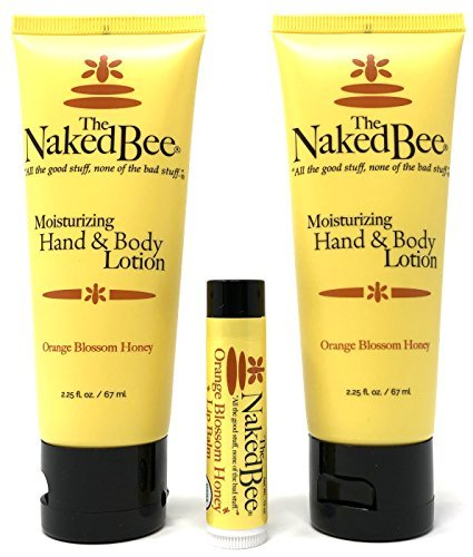The Naked Bee Orange Blossom Honey Lotion and Lip Balm Set, Hydrating, Moisturizing, and Natural Skin Care Products Cruelty Free