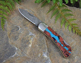 Santa Fe Stoneworks Folding Pocket Knife with Damascus Blade and Artisan-Crafted Vein Turquoise Stone Handle, 3""