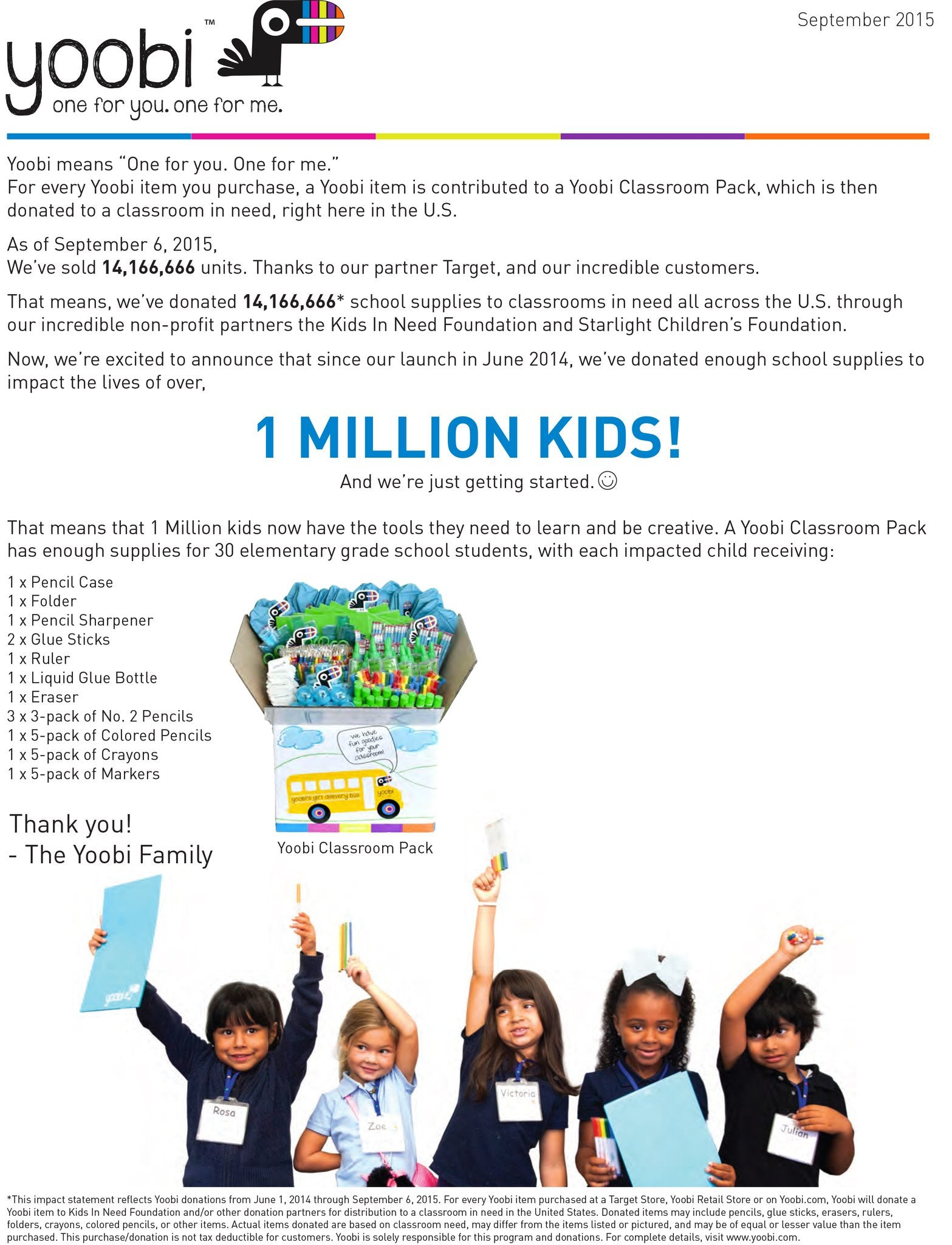 Yoobi Impacts The Lives of 1 Million Kids