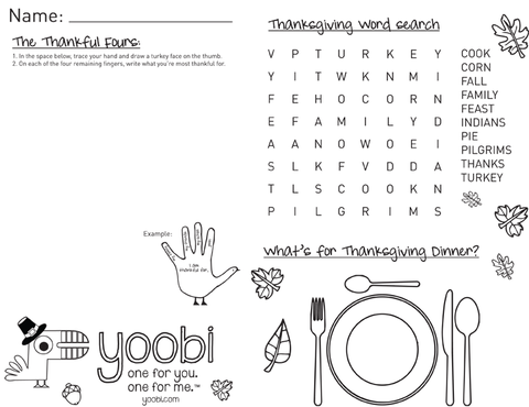 Thankgiving Activity Sheets