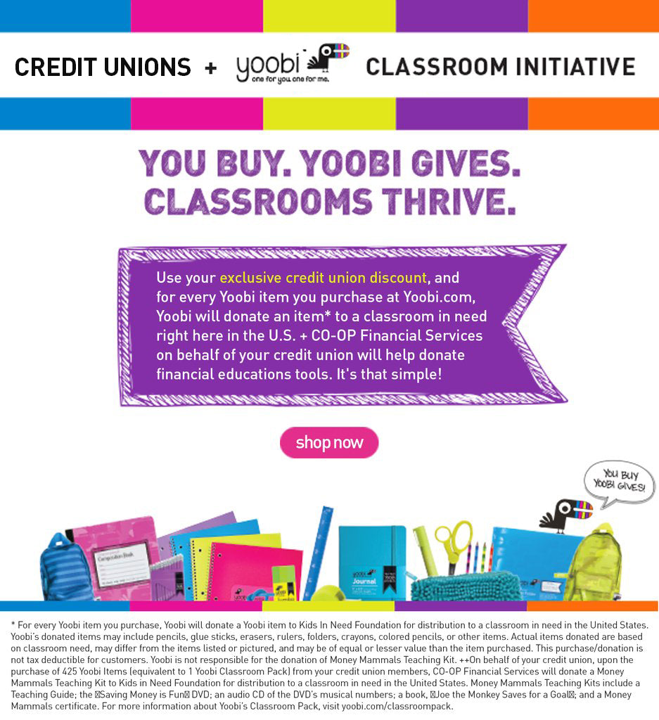 Credit Unions + Yoobi Classroom Initiative