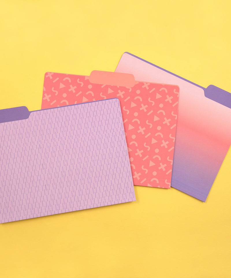 12pk of File Folder Organizers - Purple Patterns