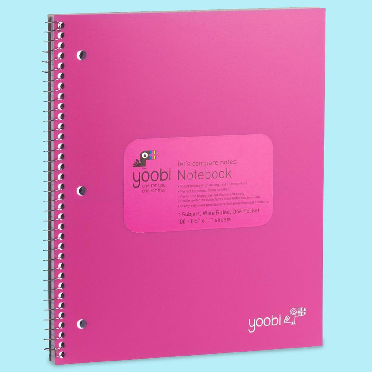 1 Subject Spiral Notebook, Wide Ruled - Pink