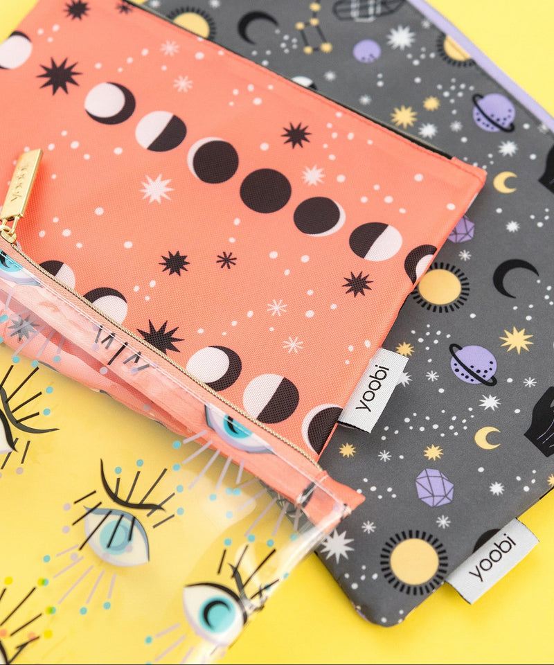 3 Piece Zip Pouch - Mystical Magic, Lunar Phases, Eternal Eyes
