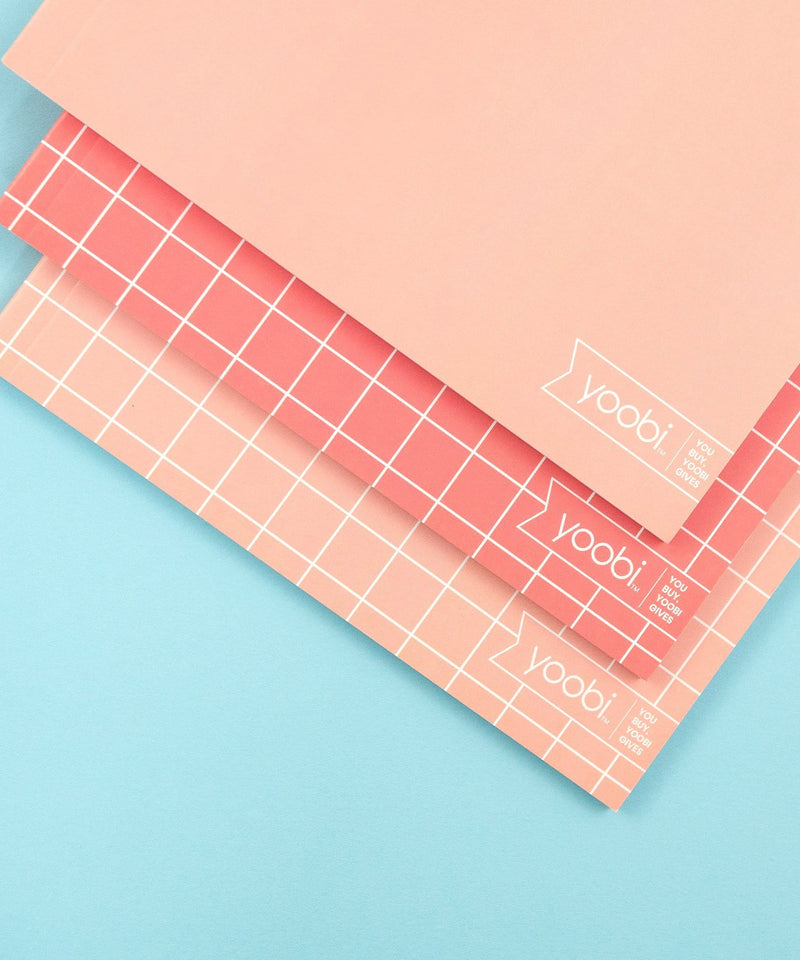 3 Pack Notebook - Heck Yes Blush Grid