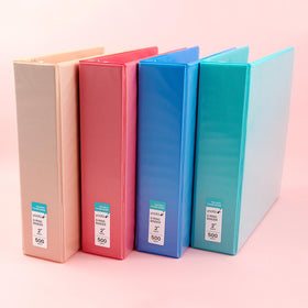 set of four 2-inch, 3 ring binders - blush, coral, blue, mint