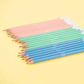 20 of the 60 set of pencils, pre-sharpened with white erasers, 3 colors - blush. mint and blue with white yoobi logo on barrel of each pencil