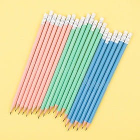 20 of the 60 pencils, pre-sharpened with white erasers, 3 colors - blush. mint and blue