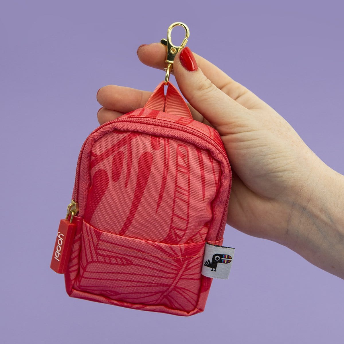 Mini Backpack Coin Purse - Coral Palm
