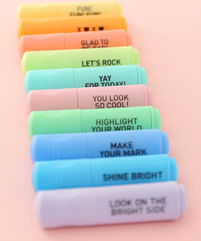 Mini Highlighters, 10 pack - Multicolor Pastel