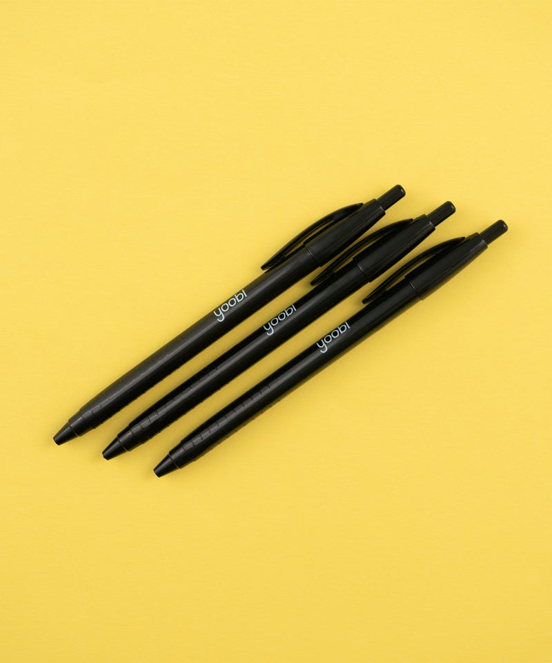 Ballpoint Retractable Pens, 3 Pack - Black