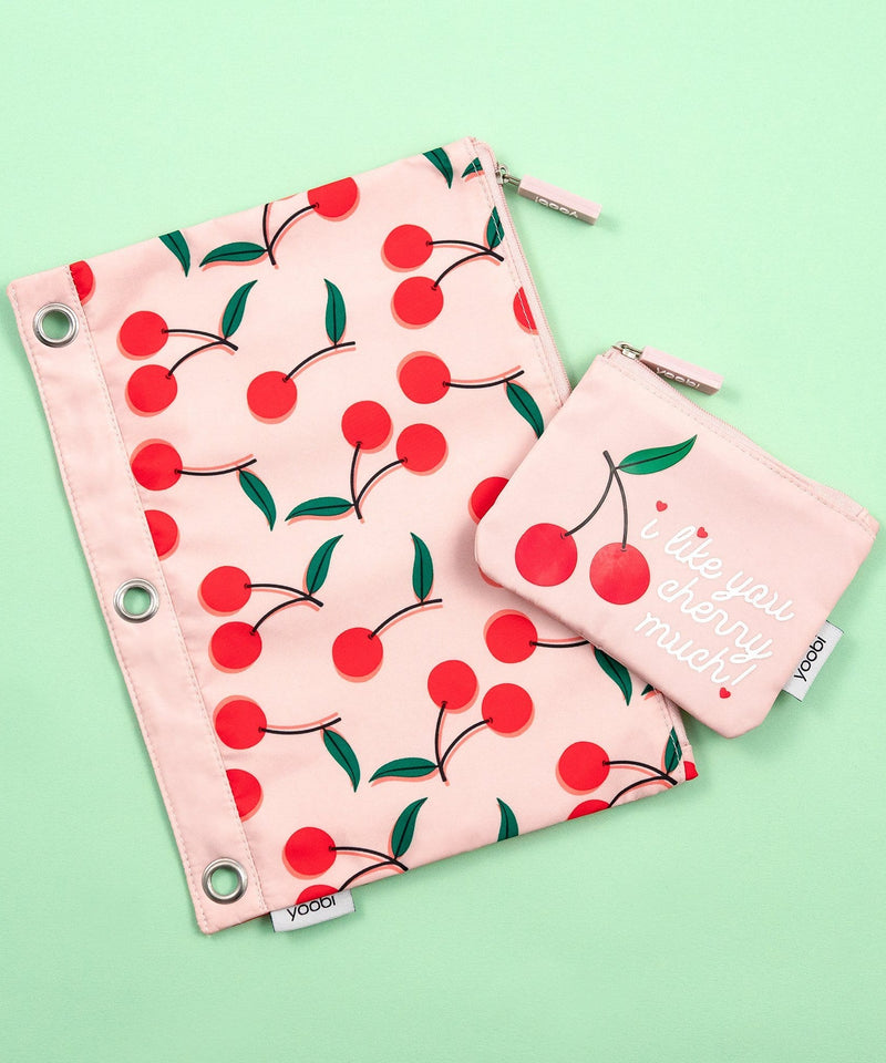 Binder Zip Case + Mini Pouch - Cherries