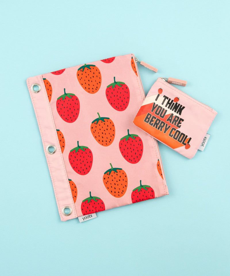Binder Zip Case + Mini Pouch - Strawberries