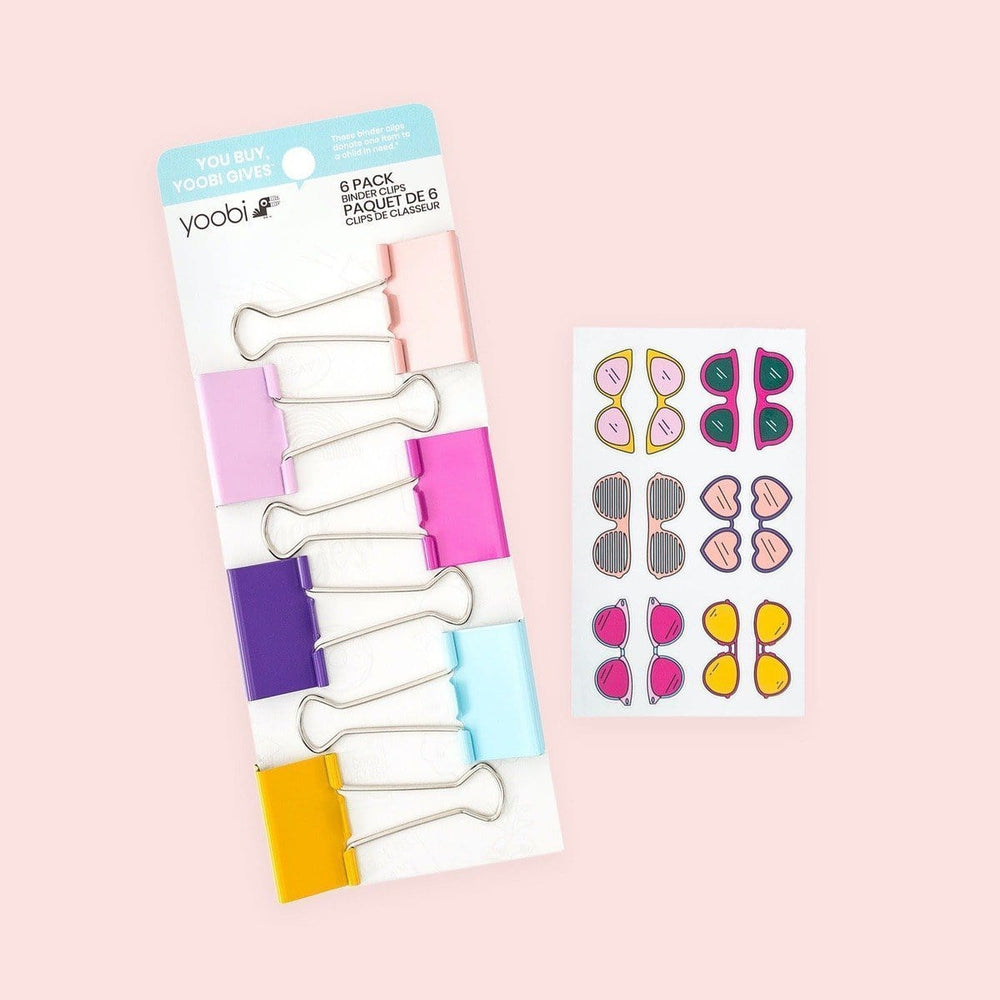 Binder Clips, 6pk, Sunnies - Multicolor/Gold