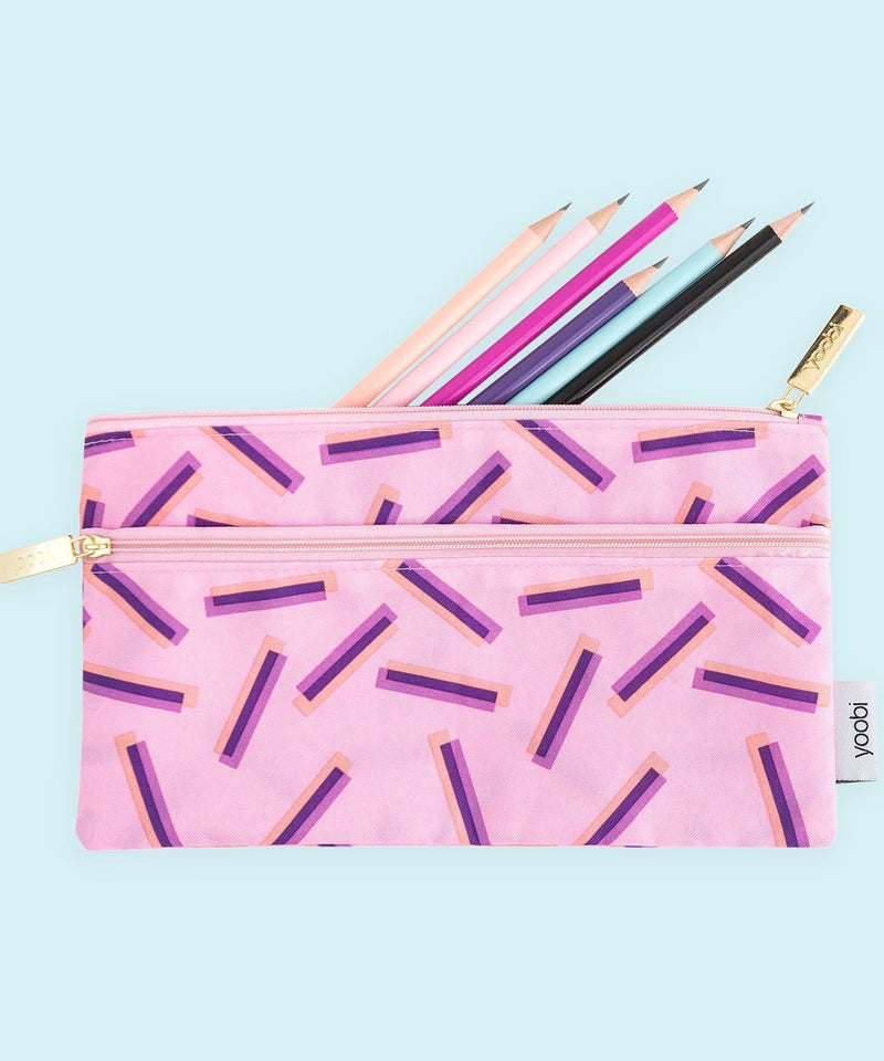 Pencil Case, Double Zip, Purple Ticker Tape - Pale Mauve/Multicolor