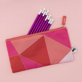Zip Pouch - Coral/Pink Triangles