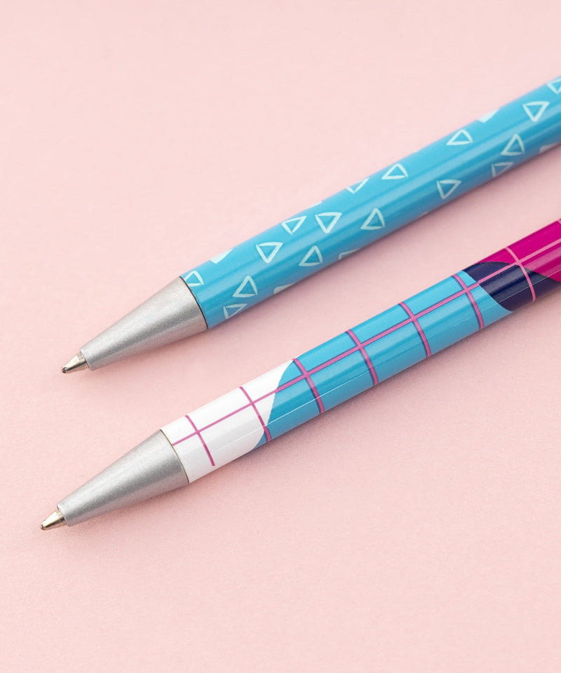 2 Retractable Ballpoint Pens - Pink Memphis & Aqua Teeny Triangles