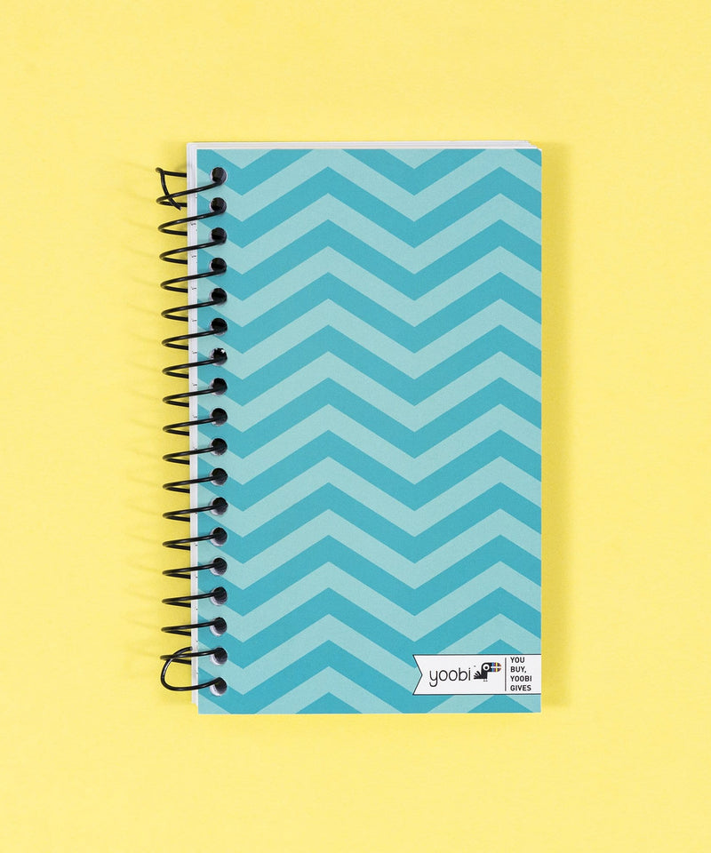 Ultra Mini Spiral Notebook - Aqua Chevron