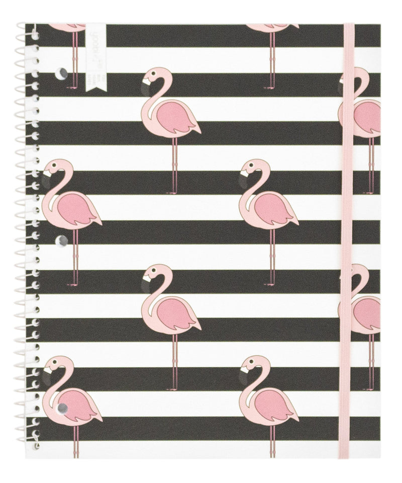 Spiral Notebook, College Ruled - Flamingo Repeat