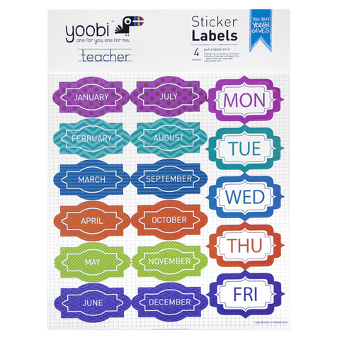 Sticker Labels, 4 Pack - Multicolor