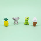 4 Pk 3D Erasers - Animals and Food
