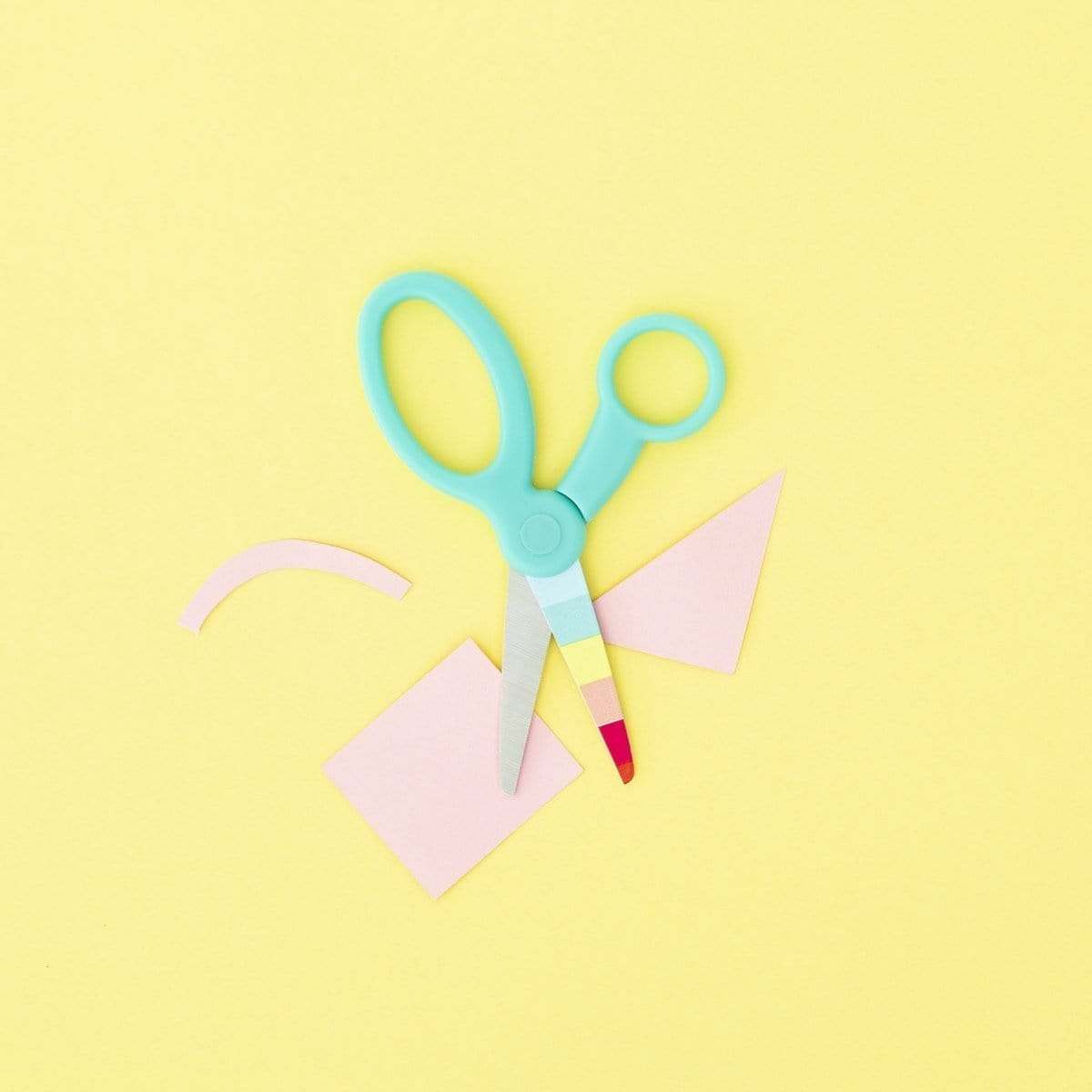 Kid's Blunt Tip Scissors - Aqua Rainbow Stripe
