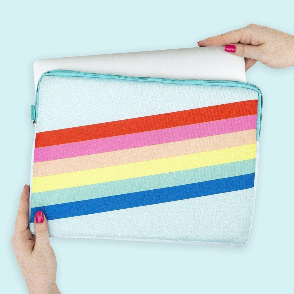 Laptop Case - Aqua Rainbow Stripe