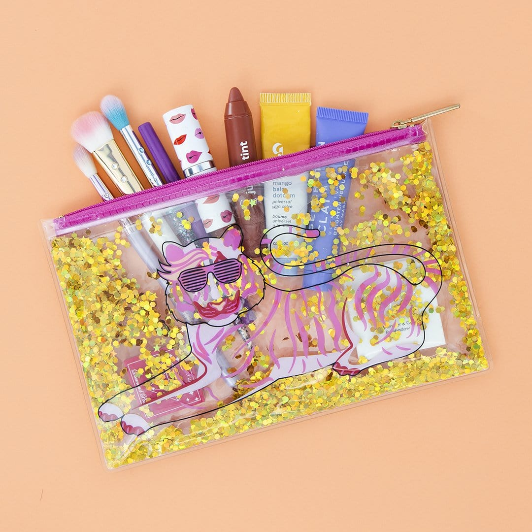 Zip Pouch - Tiger Liquid Glitter