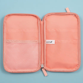 inside of open blush zip-around pencil organizer with mesh pocket on one side and 2 pockets on opposite side.  Yoobi logo on inside pocket