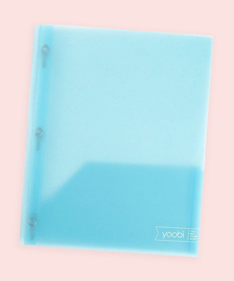 Poly Folder with Prongs - Blue Glitter