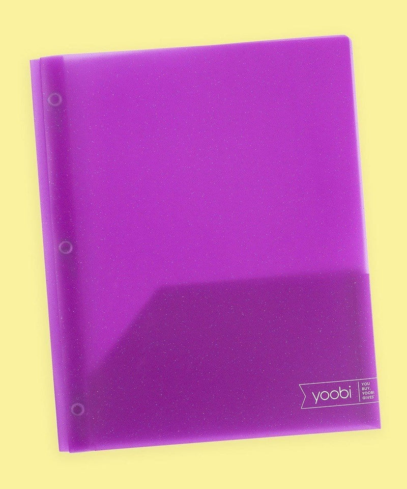 Poly Folder with Prongs - Purple Glitter