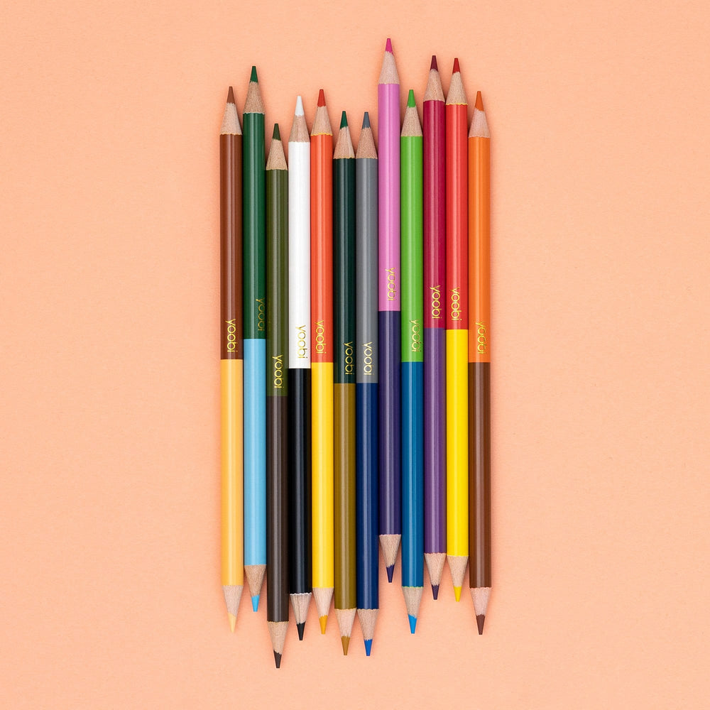 Double Ended Colored Pencils, 12 Pack - Multicolor