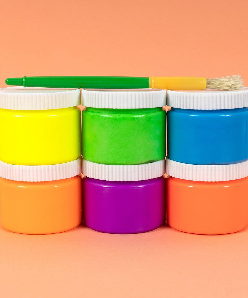 Sidewalk Paint Jars with Brush, 6 Pack - Multicolor