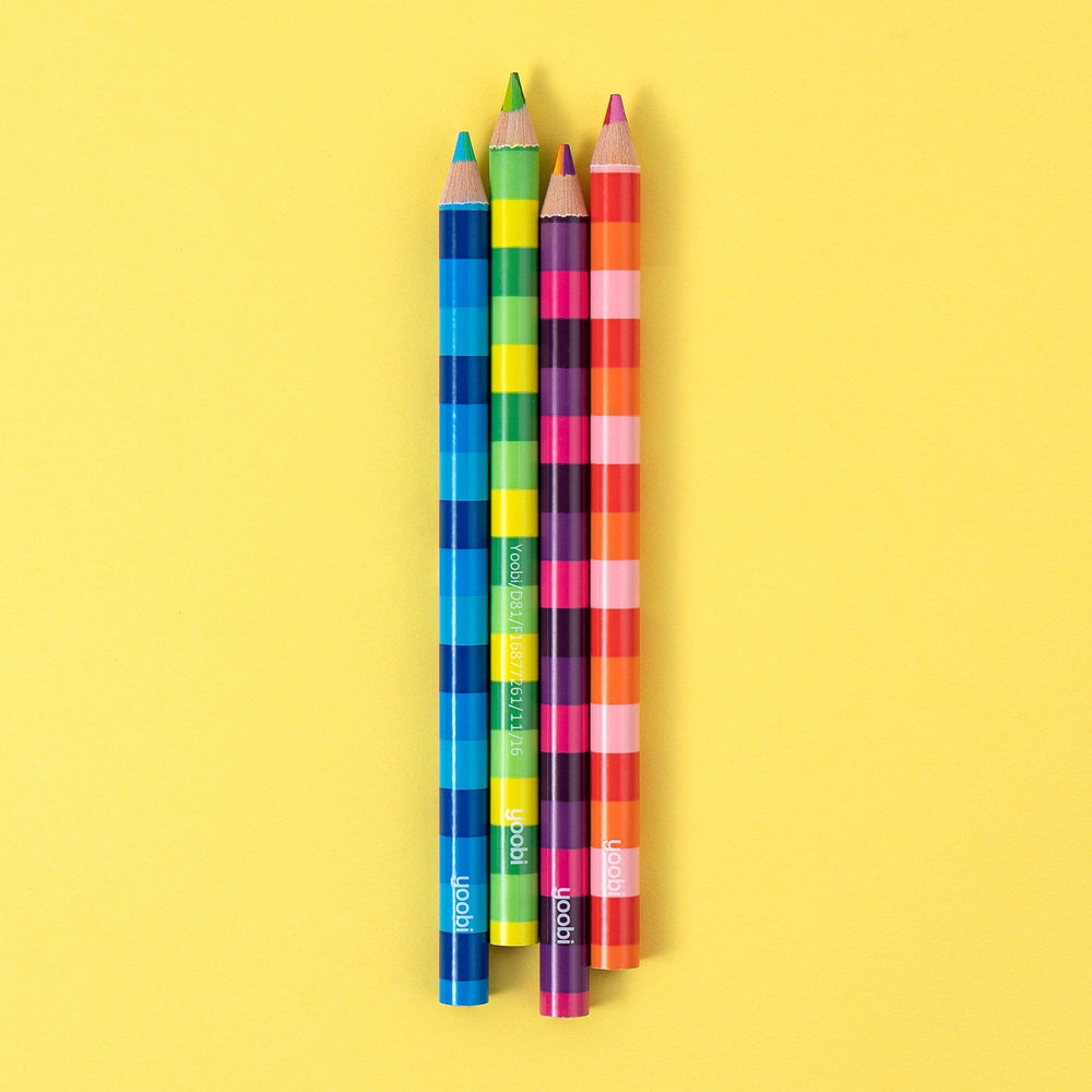 Jumbo Color Stripe Pencils, 4 Pack - Multicolor