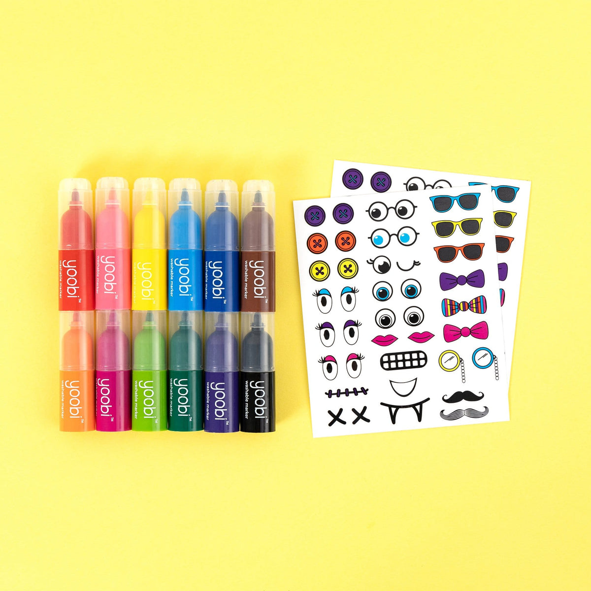 Stackable Markers with Stickers, 12 Pack - Multicolor