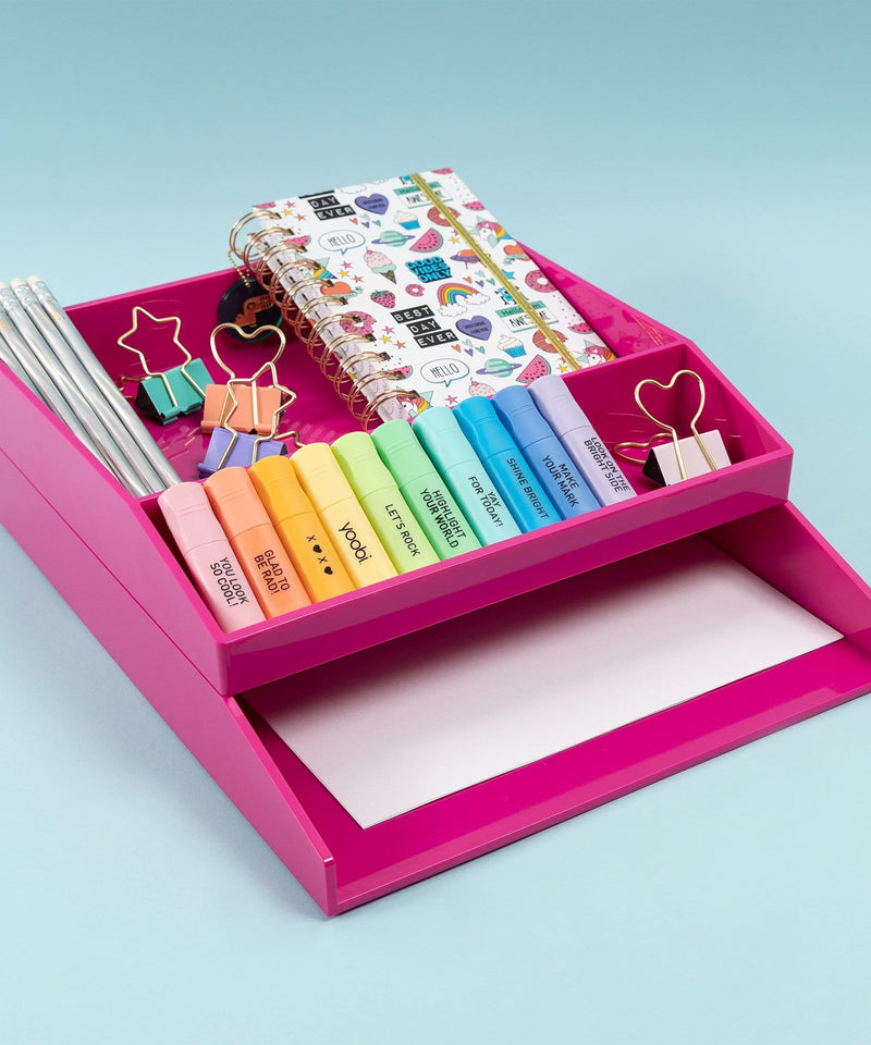 Letter Tray Desk Set, 2 Pieces - Pink