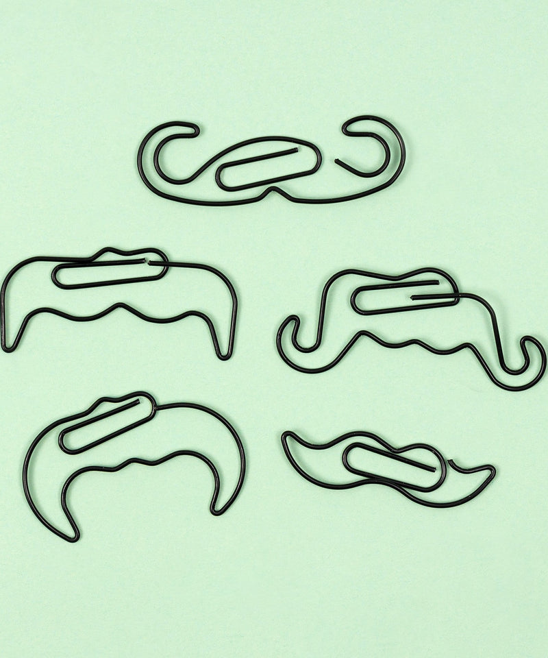 Mustache Paperclip, 5 Pack - Black