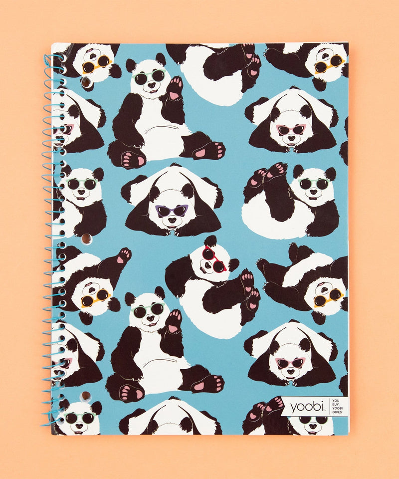 Spiral Notebook, College Ruled - Blue Playful Pandas