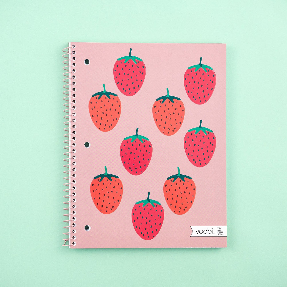 Spiral Notebook, College Ruled - Blush Strawberry