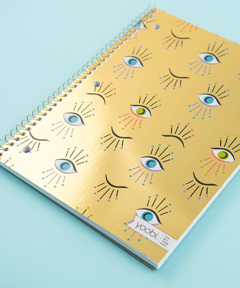 Spiral Notebook, College Ruled - Gold Eternal Eyes