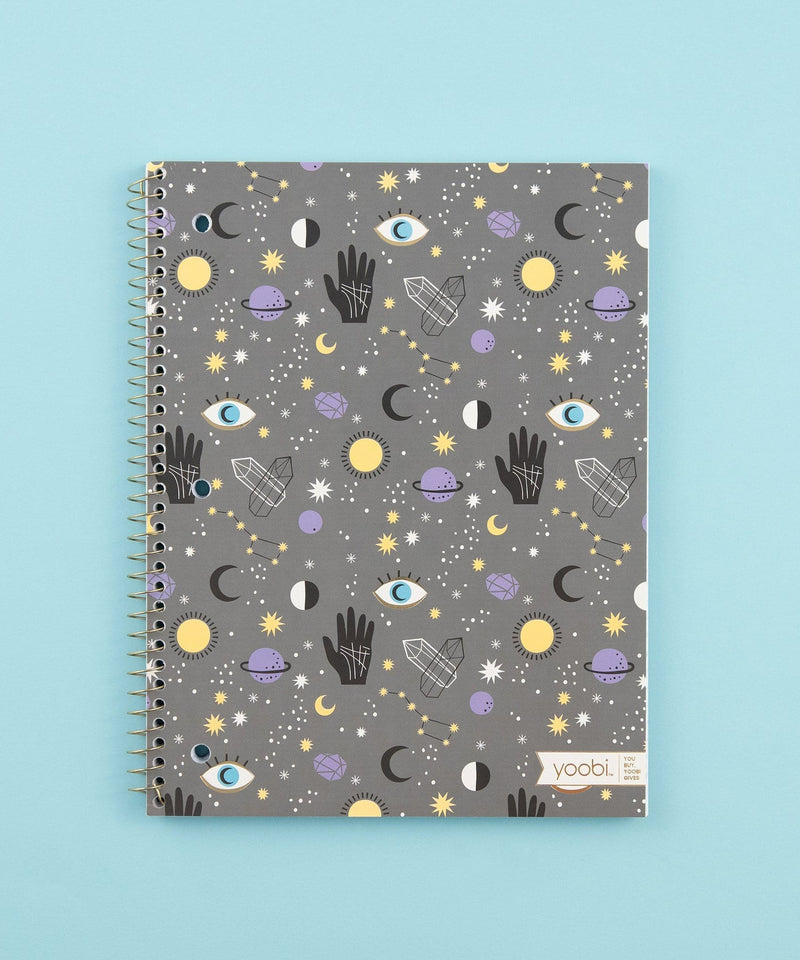 Spiral Notebook, College Ruled - Graphite Mystical Magic