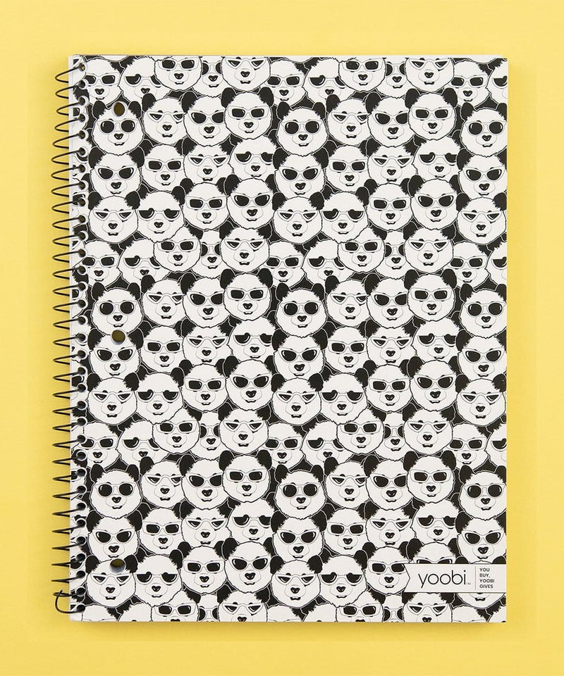 Spiral Notebook, College Ruled - Panda Repeat