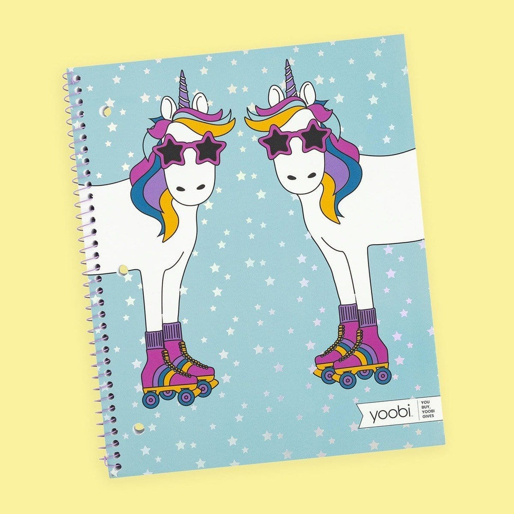 Spiral Notebook, College Ruled - Unicorn in Skates