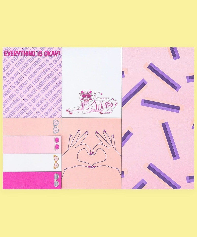 Sticky Note Set, Everything is Okay!, 8pk - Pale Mauve/Multicolor