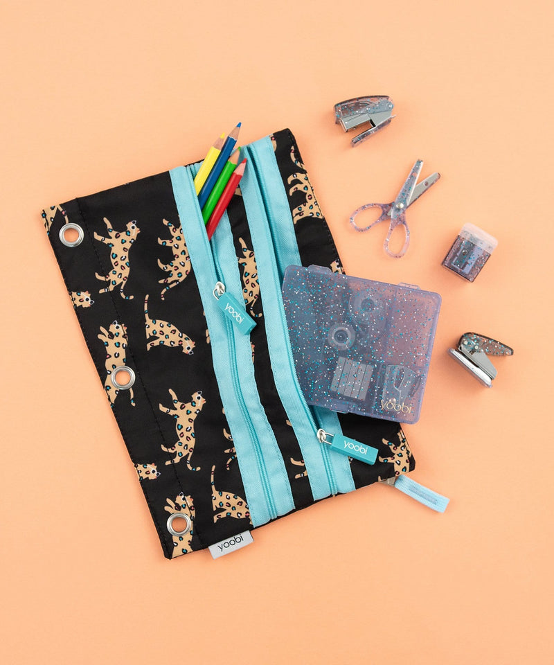 Triple Zip Binder Pencil Case - Leaping Leopards